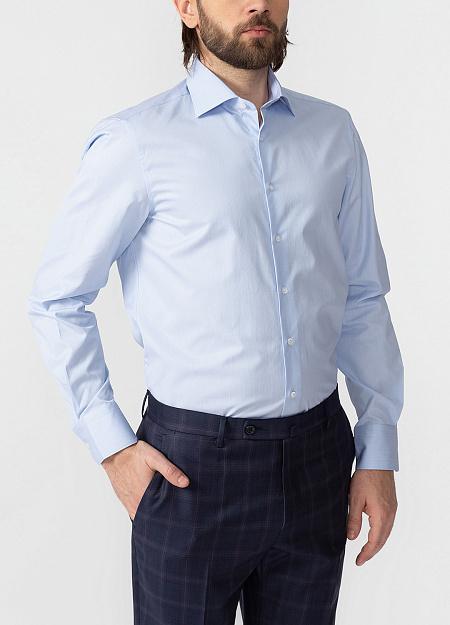 f39a53ad9a7f216 Модная мужская голубая рубашка с микродизайном арт. SL 90202 R  BAS2193/141704 от Meucci
