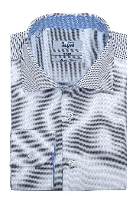 4e91e0000c13a20 Модная мужская голубая рубашка casual с микродизайном арт. SL 90102 R  27171/141279 от