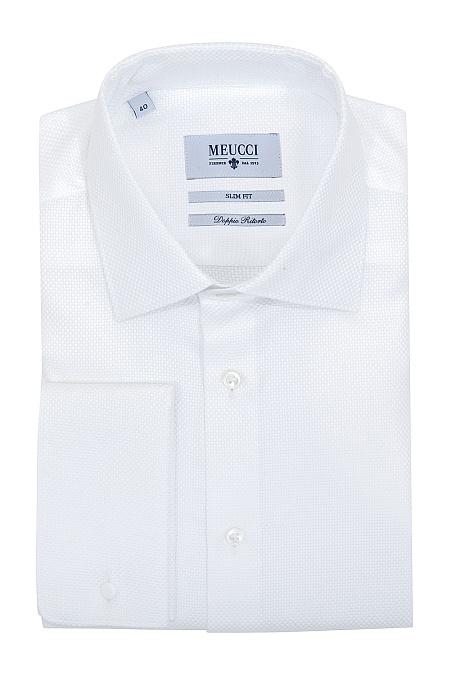 a201072bcf67af3 Модная мужская классическая рубашка под запонки белого цвета арт. SL 90204 R  40161/141100Z