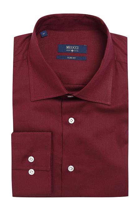 5786485b8b94235 Мужская брендовая бордовая рубашка casual с микродизайном арт. SL 90205 R  15171/141536 Meucci