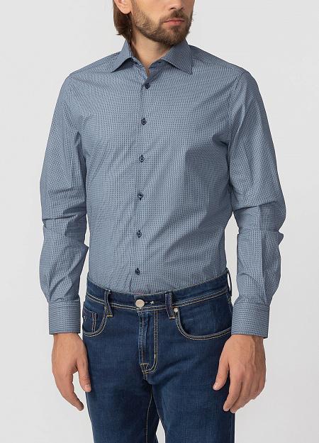 aac4b20574a Модная мужская рубашка синего цвета из хлопка арт. SL90202R1090182 1632 от  Meucci (Италия