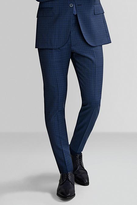 Мужские брендовые классические брюки синего цвета в клетку арт. MI  30073 1202 Meucci ( 7637cc666d2aa