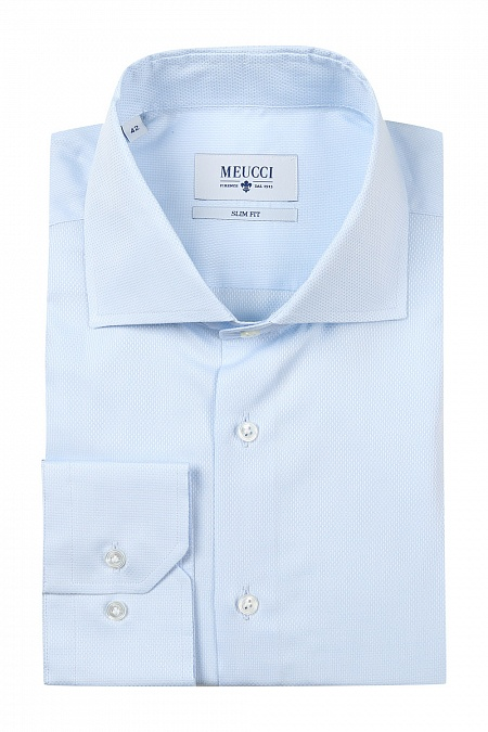 54b585bcd67a591 Модная мужская приталенная рубашка голубого цвета с микродизайном арт. SL  92902 R 13161/141094